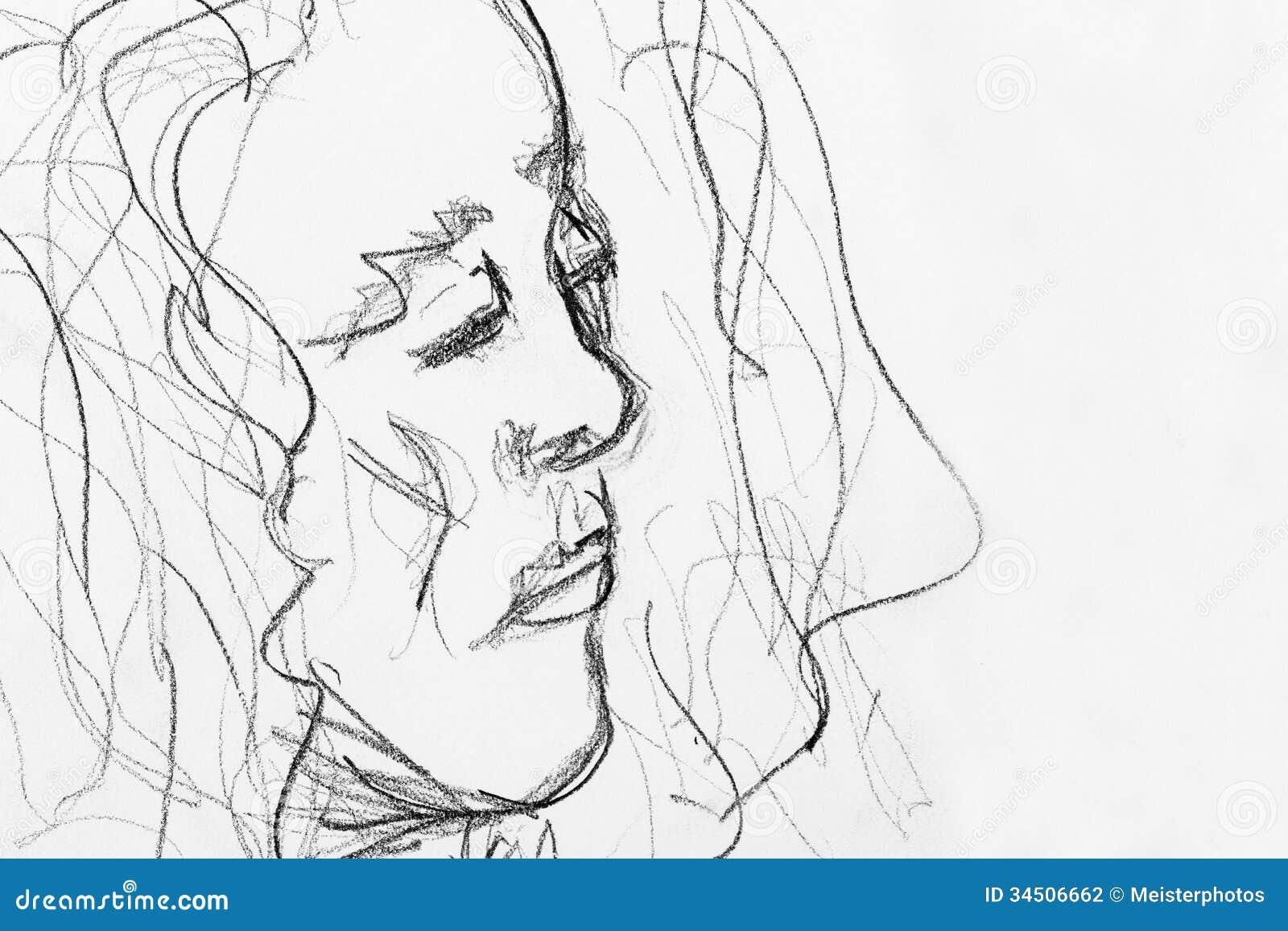 Quick pencil sketch of woman