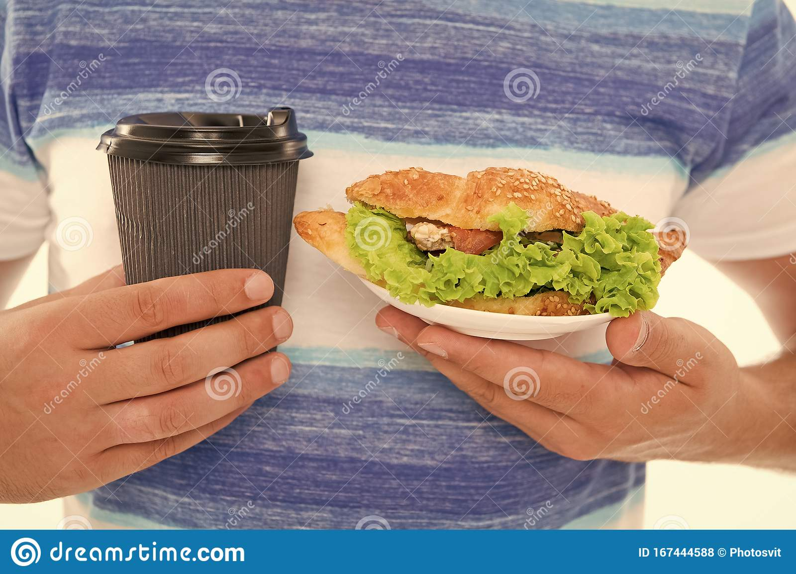 Quick Snack. Coffee And Croissant. Junk Food. Calories And..
