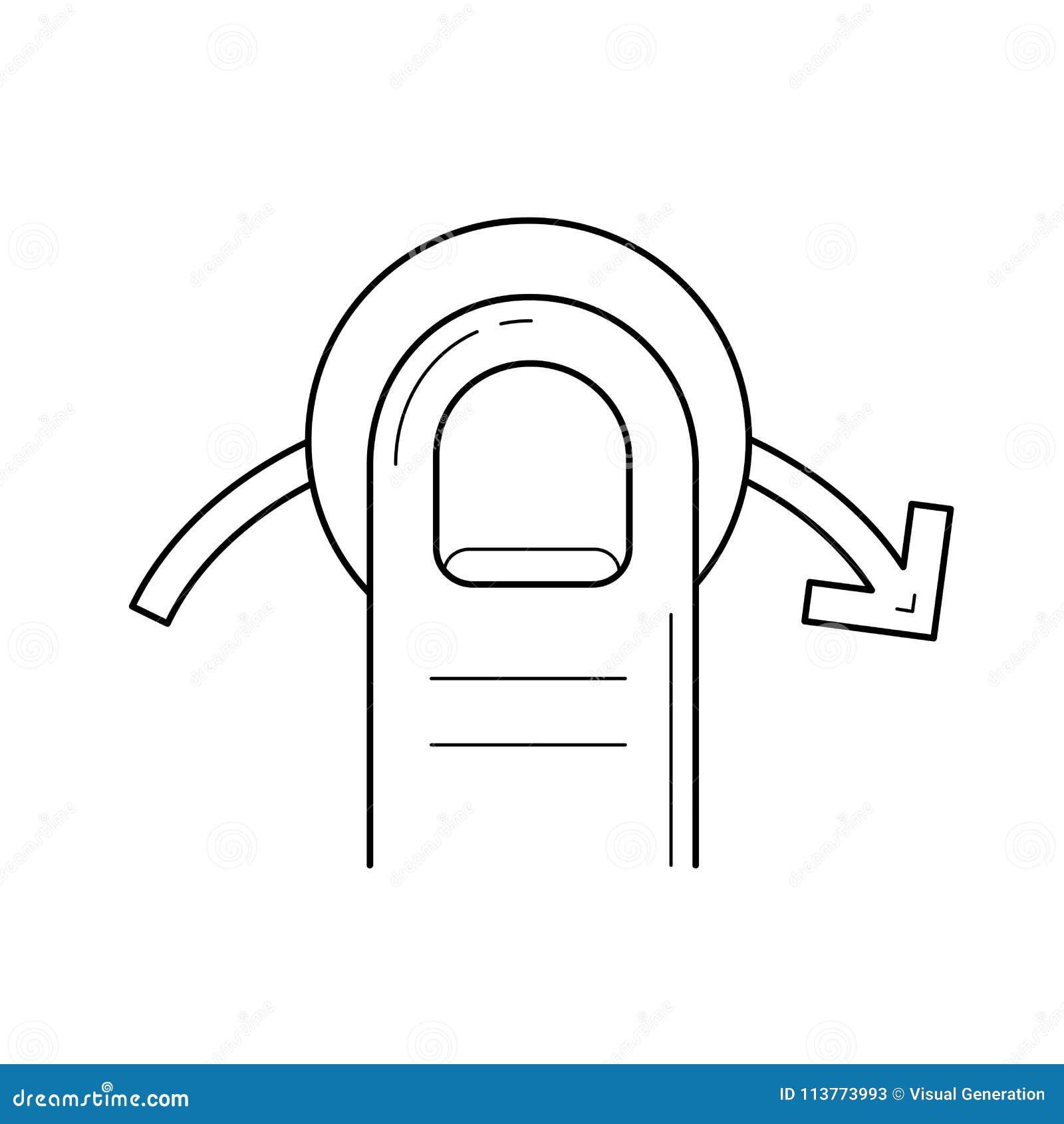 Quick Swipe Right Line Icon. Stock Vector