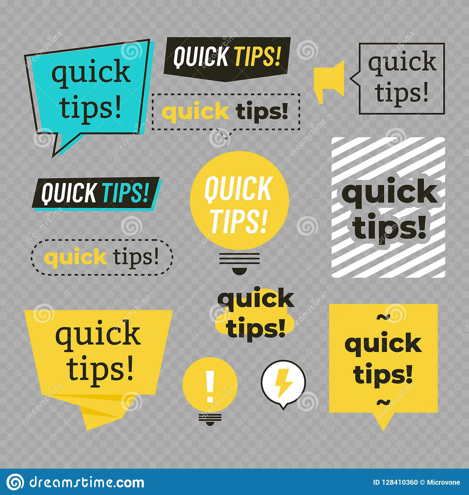 Quick Tips, Helpful Tricks Banners Vector Set Stock Vector