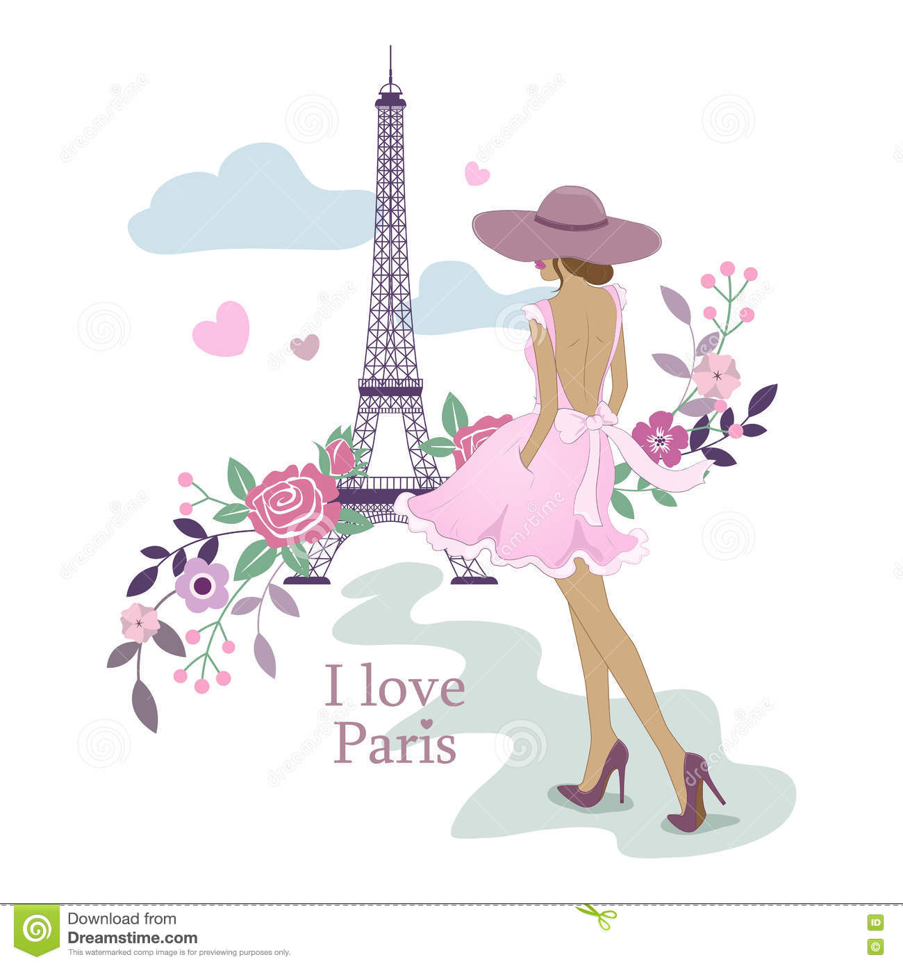 I Love Paris Wallpaper cartoon : Quiero Paris Imagen De La Torre Eiffel Y De Las Mujeres Ilustracion Del Vector Paris Y Flores ...