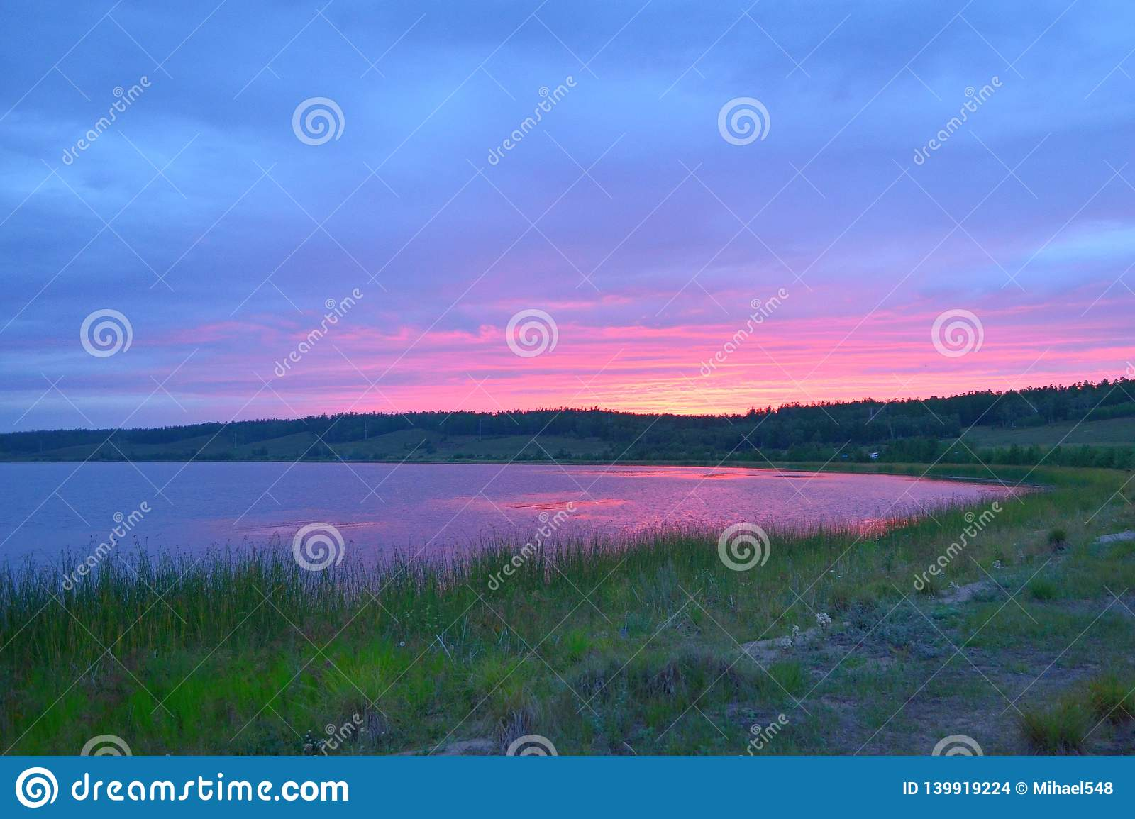 Quiet Evening And Sunset On The Lake Stock Photo - Image of