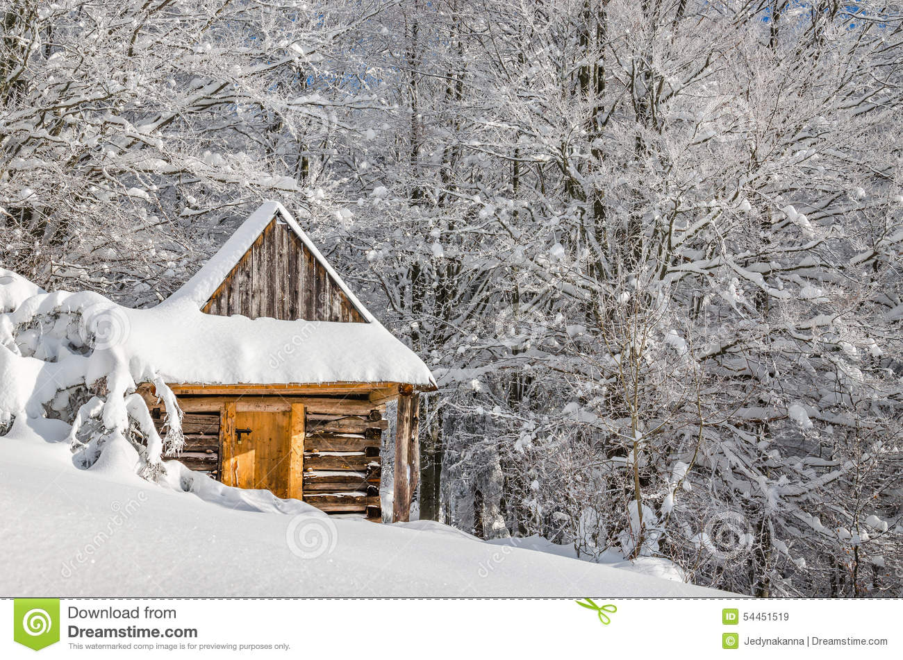 Quiet Mountain Cabin In Winter Stock Image Image Of Christmas Sunny 54451519