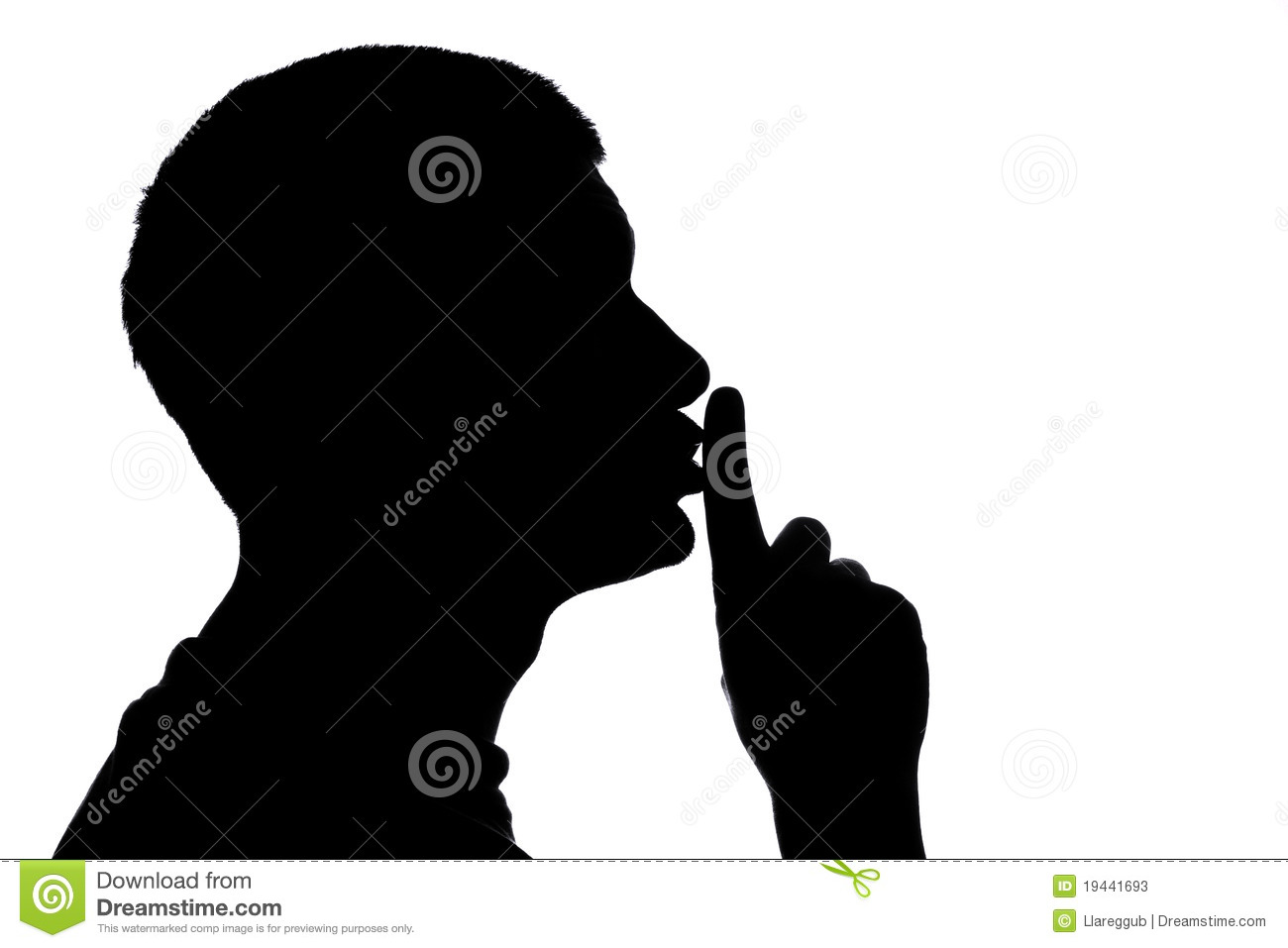Quiet Please stock image. Image of silhouette, male ...