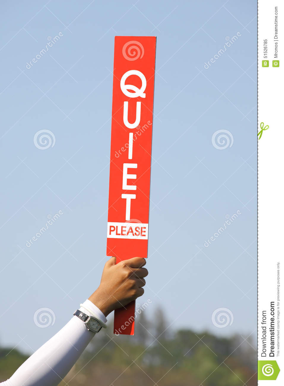 The Quiet Please Sign Was Held Up By Volunteer In Golf