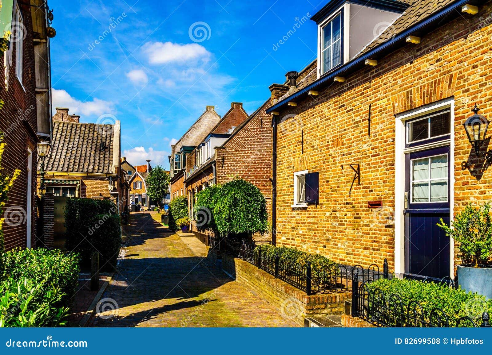 Quiet street in the historic Dutch Fishing Village of Bunschoten-Spakenburg