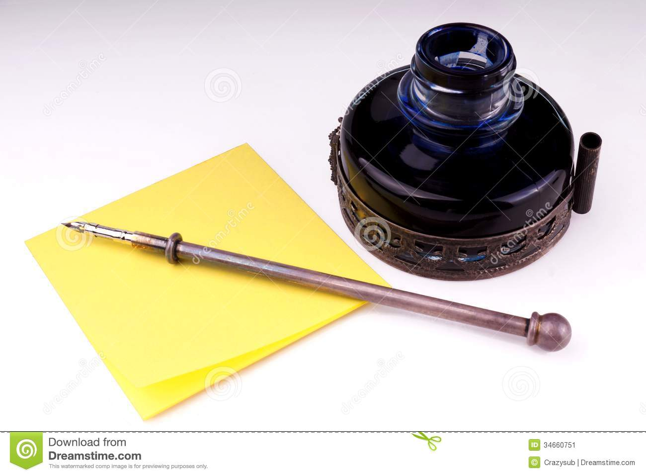 Old Fashioned Inkwell And Pen
