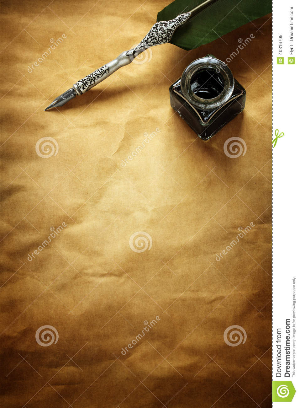 Quill Pen And Ink Well On Parchment Paper Stock Photo ...
