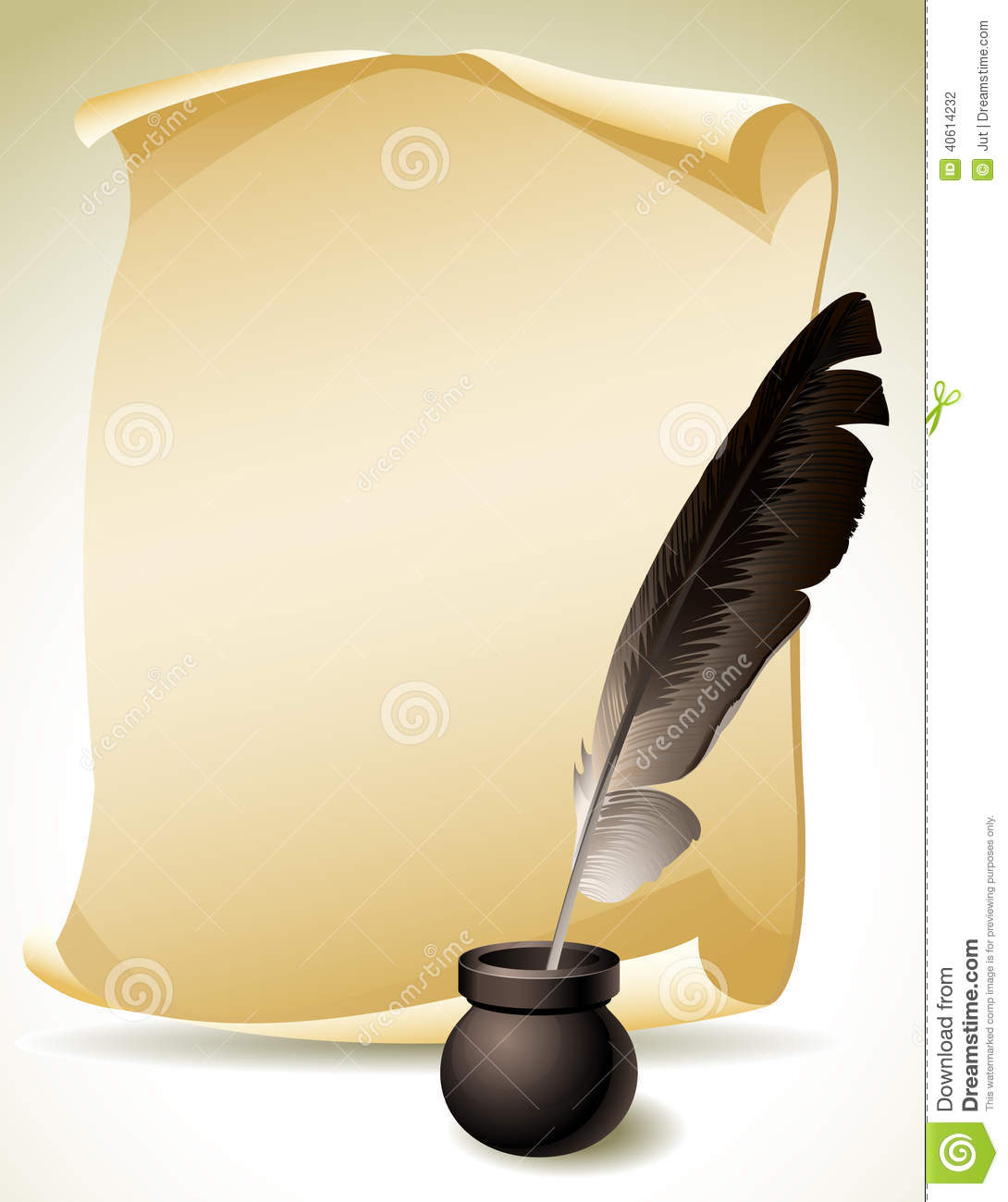 Vector illustration - Quill Pen with inkwell and paper scroll.