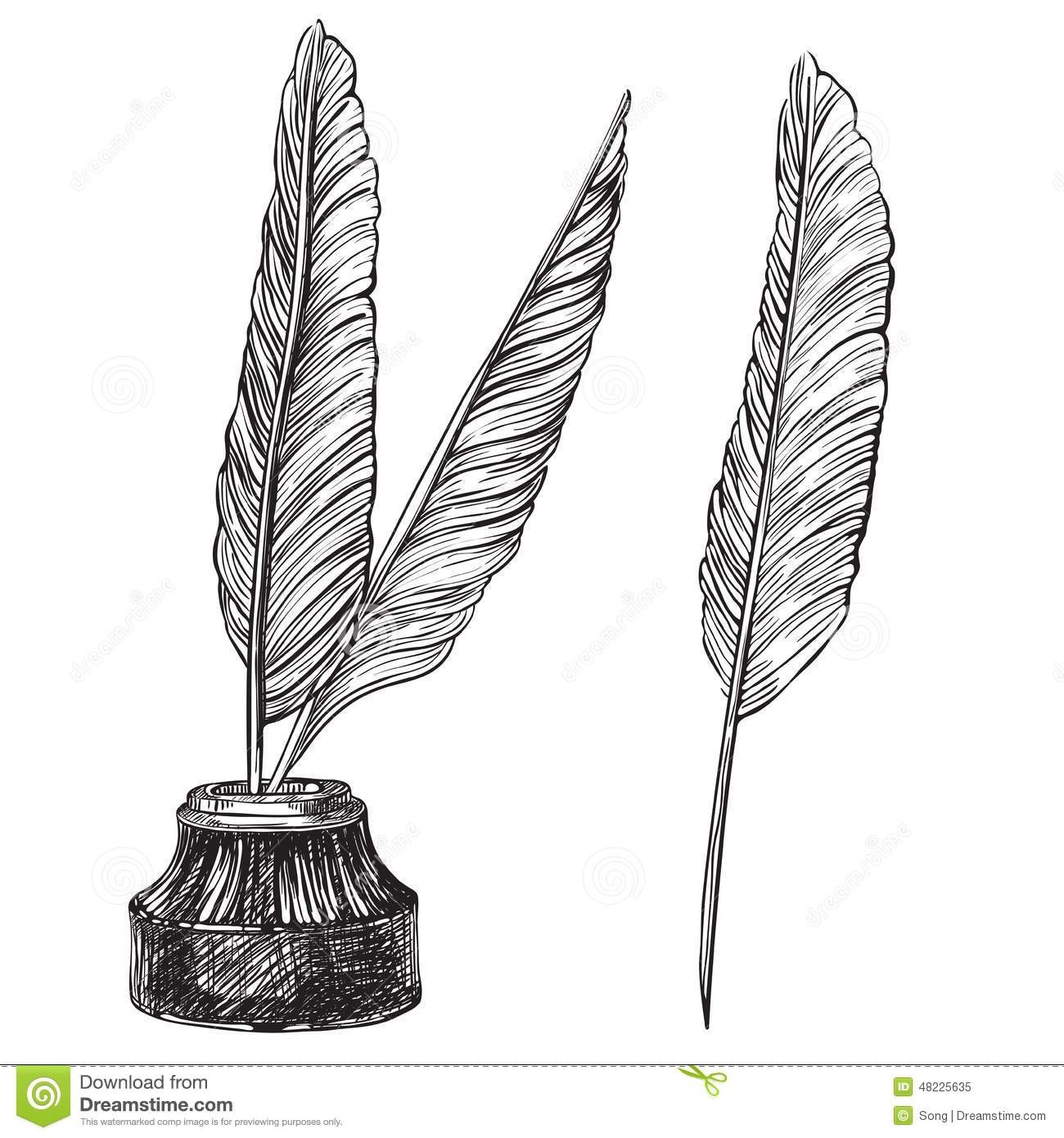 quill pens and inkwell stock vector image of fashioned