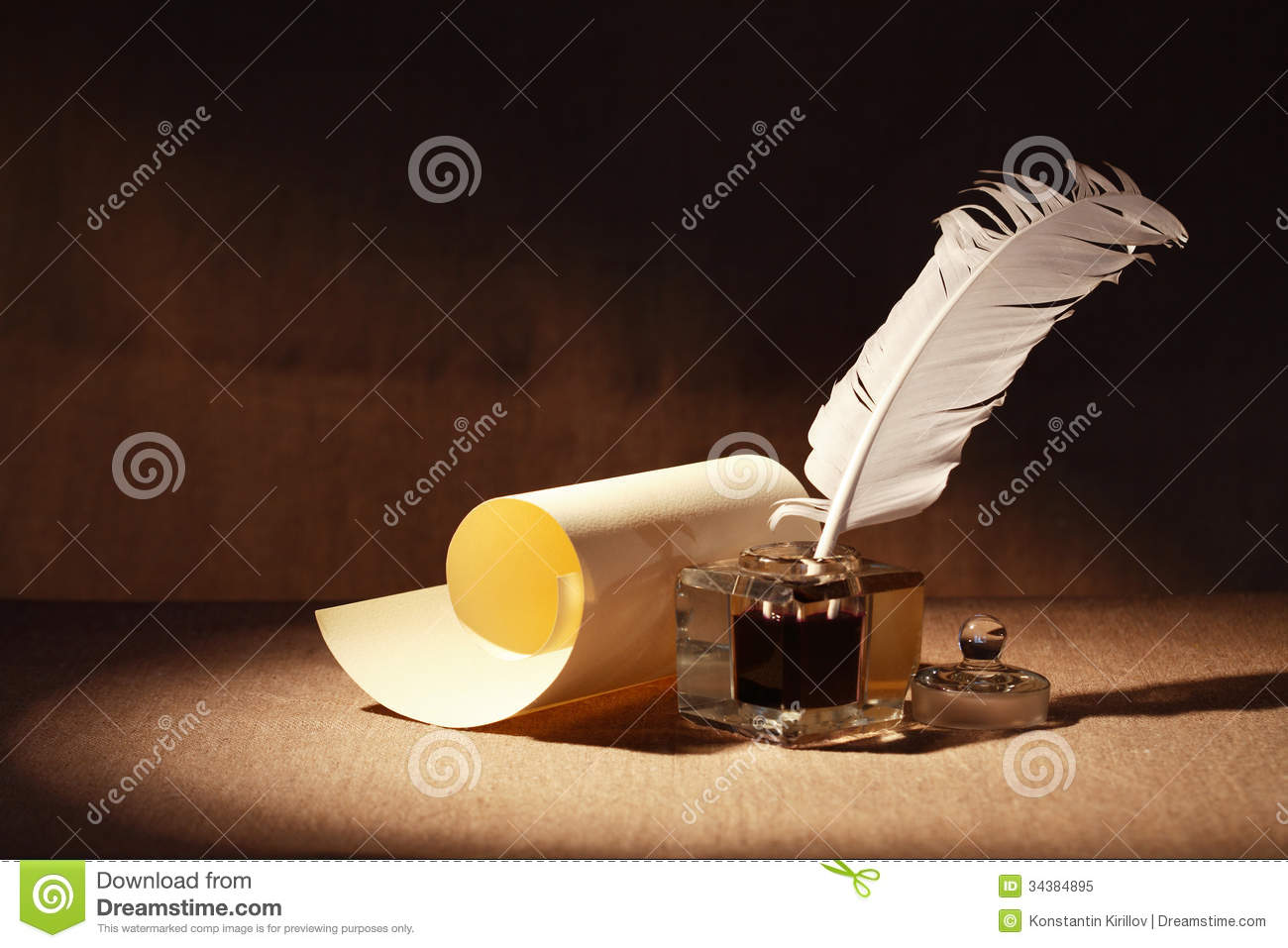 a symbol in literature quill and scroll royalty stock photo image