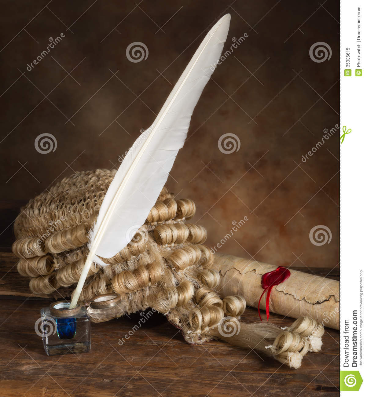 Authentic Scrolls: Quill Scroll And Wig Stock Image. Image Of Legal, Lawyer