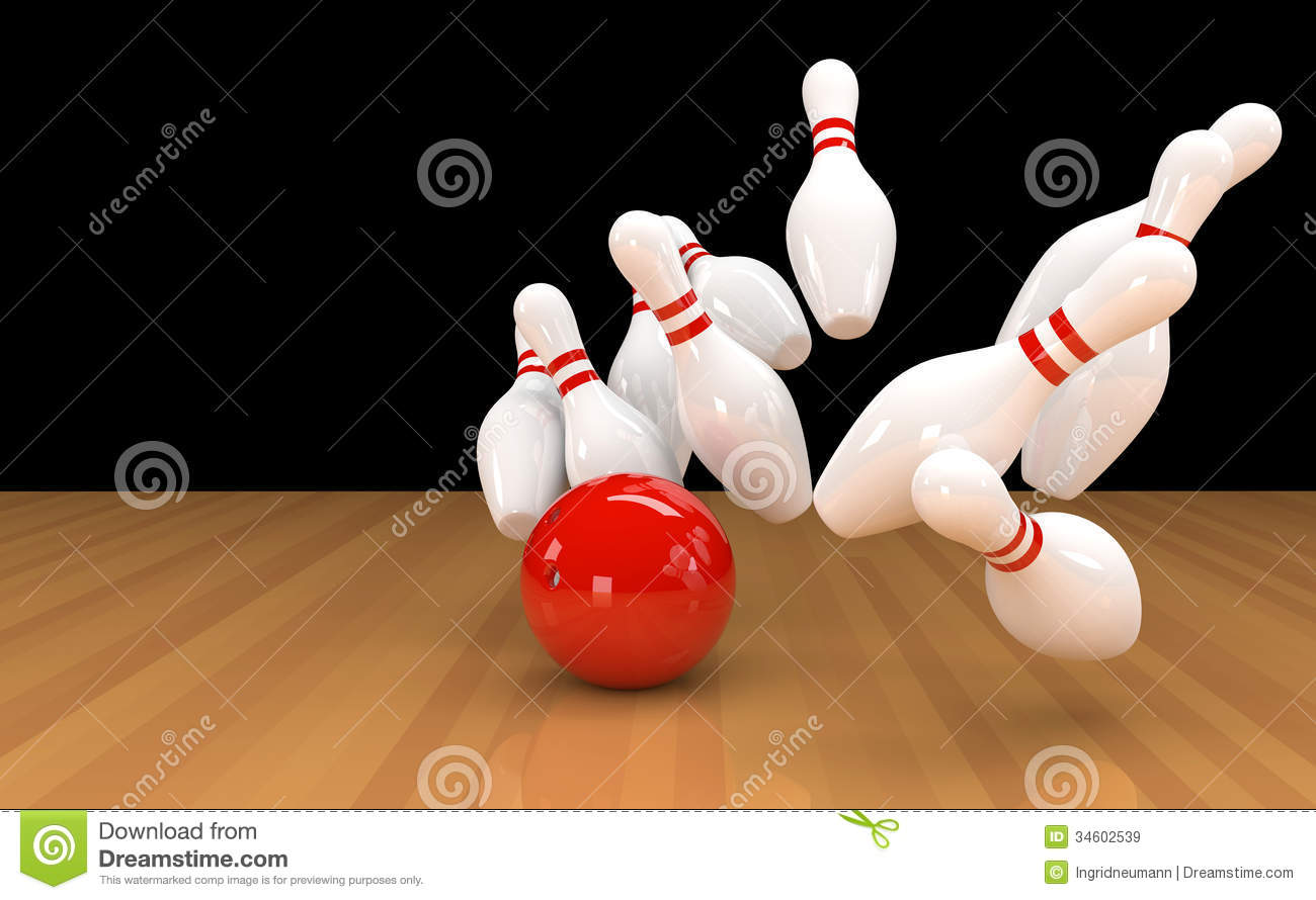 Quilles avec la boule de bowling rouge images libres de for Decoration quille de bowling