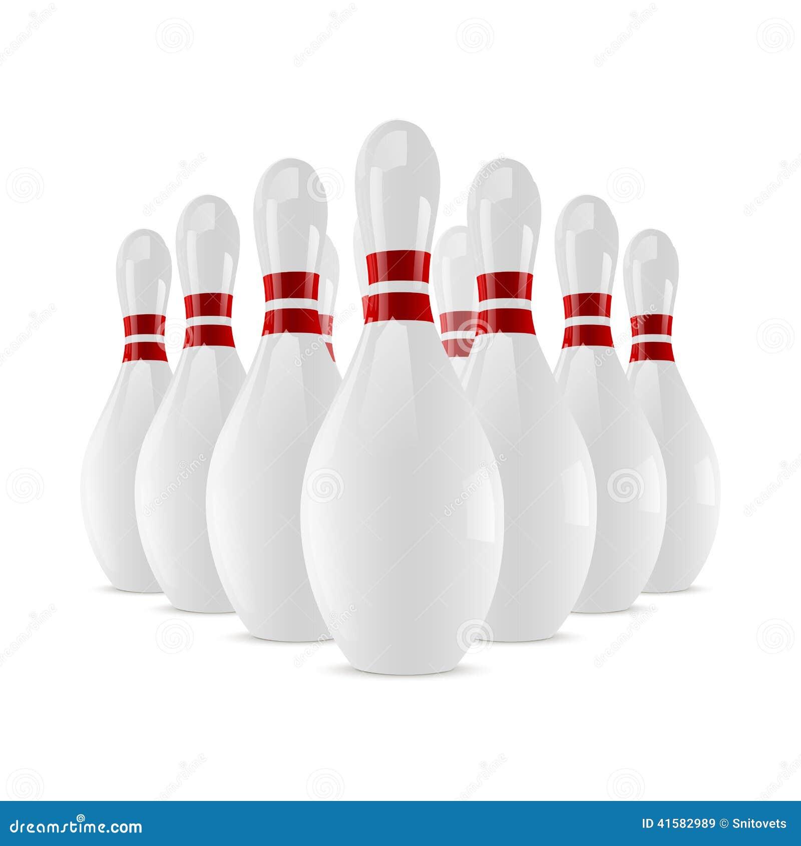 Quilles brillantes de bowling sur le fond blanc for Decoration quille de bowling