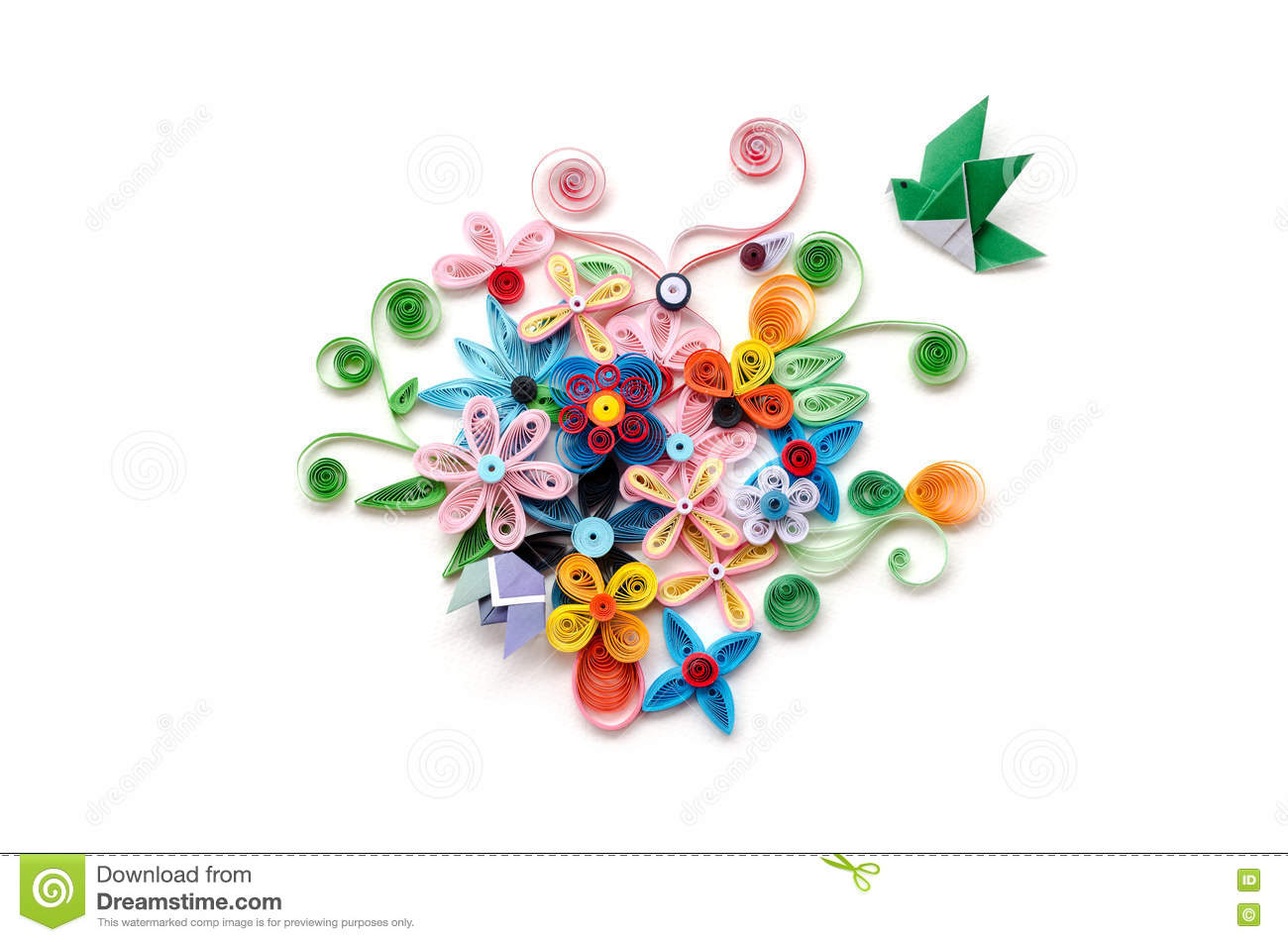 Quilling Flower Paper On White Background Stock Image Image Of