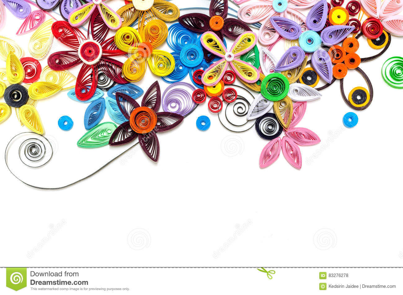 Quilling Paper Flower Designs Isolated On White Stock Photo Image