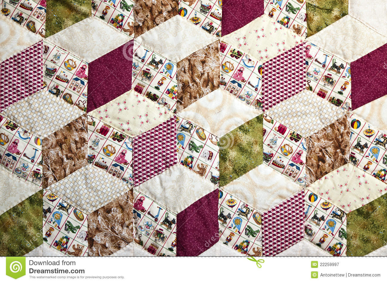 Quilt with pattern of squares