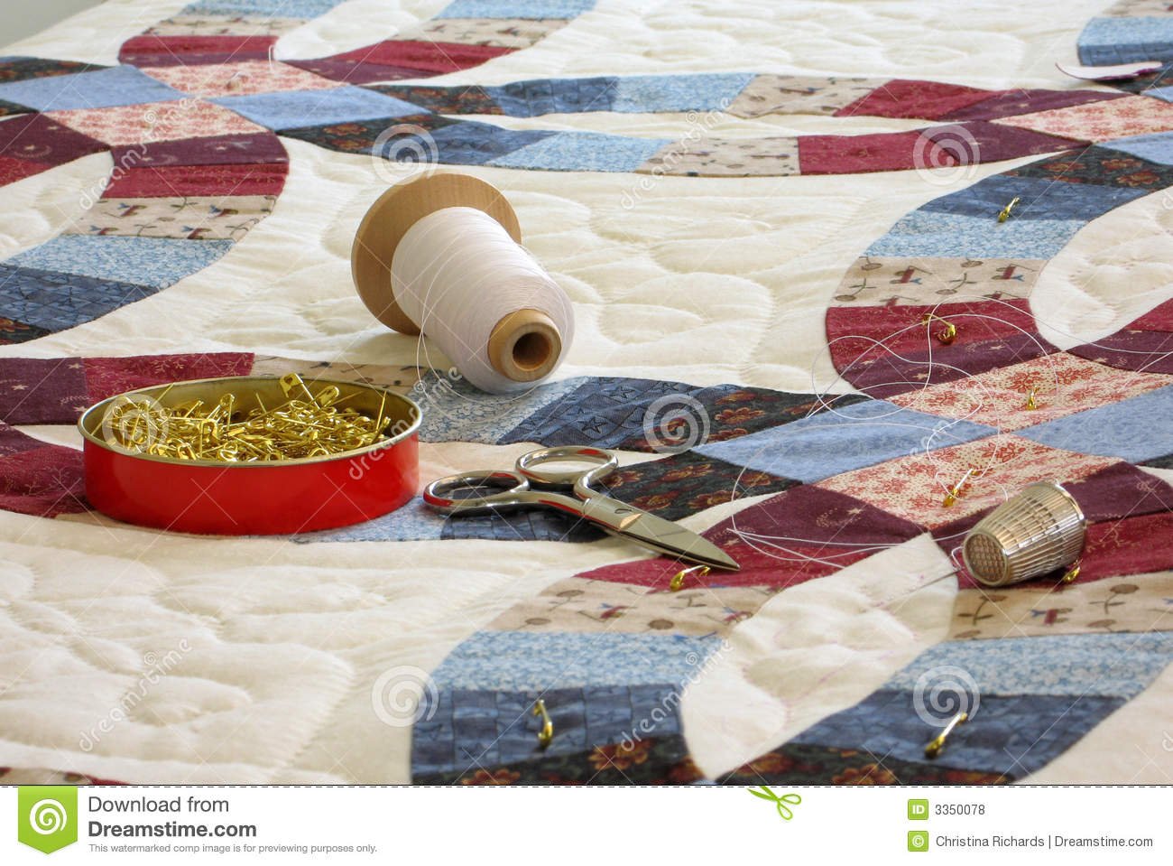 Quilt And Quilting Tools Royalty Free Stock Photos Image