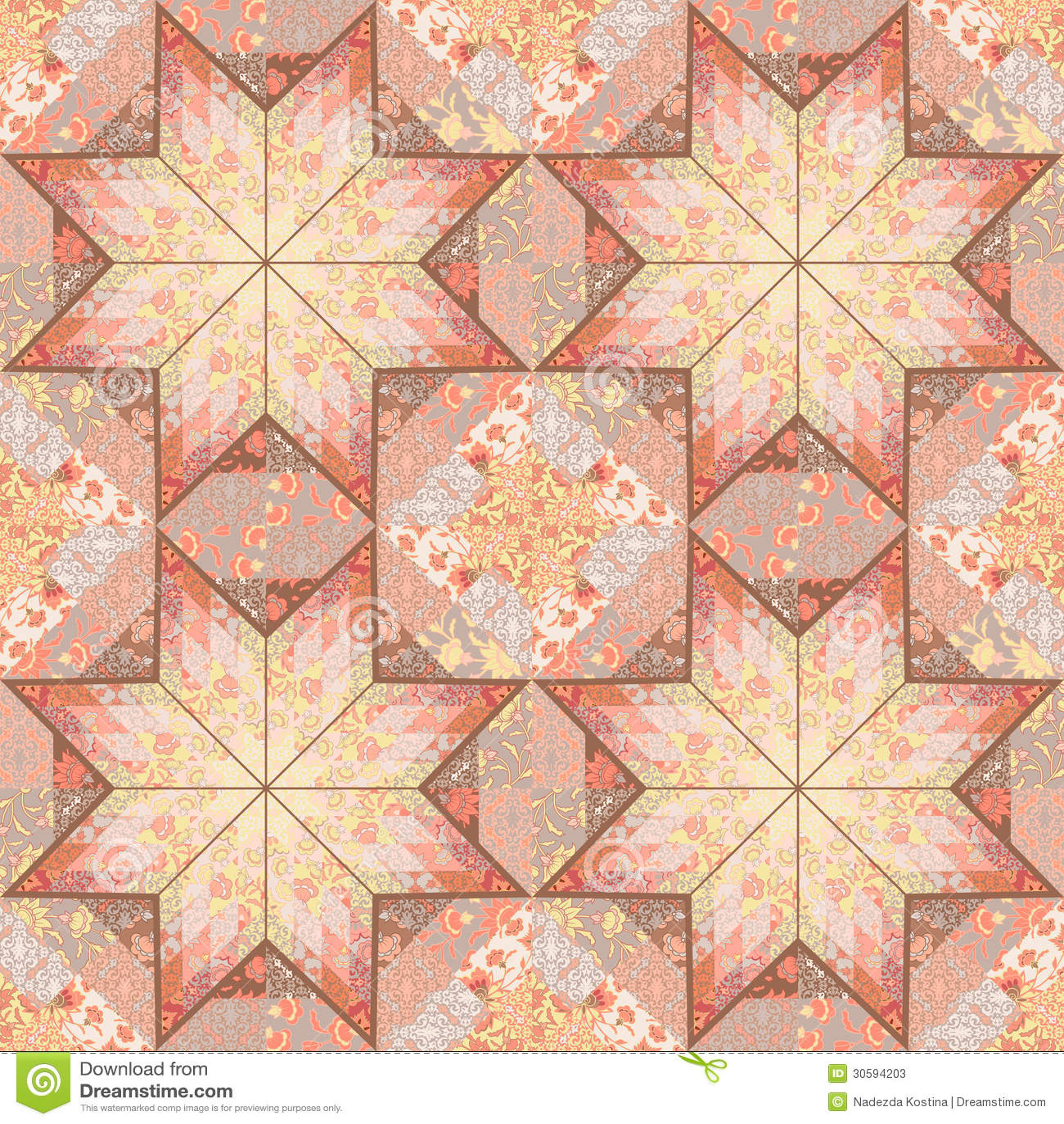 Quilt Seamless Pattern Background Star Design Stock Vector