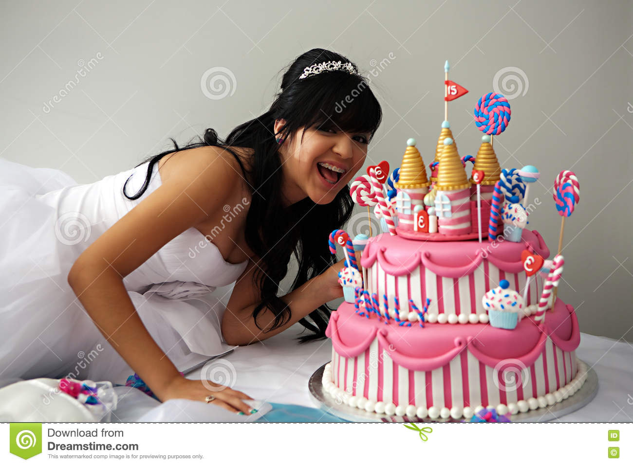 15th birthday cake quinceanera birthday cake stock image image of iced 1025