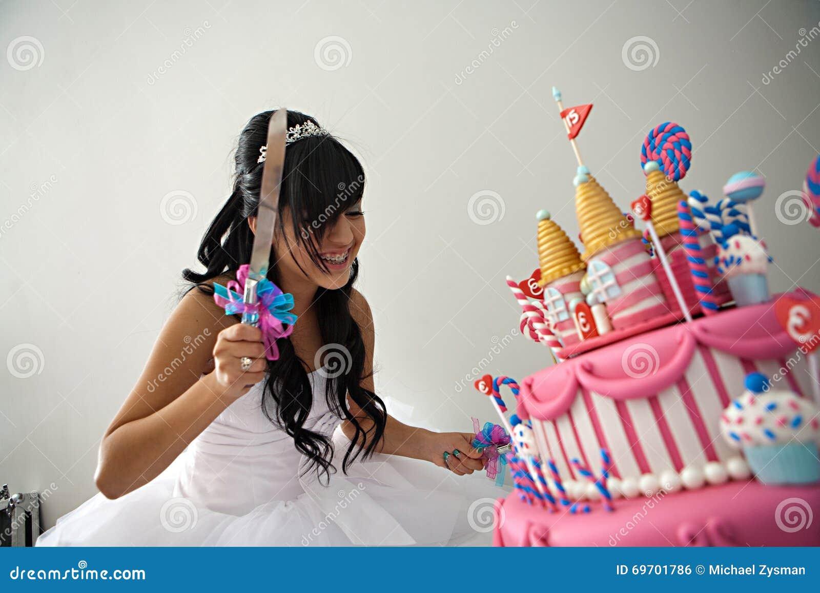 Quinceanera Geburtstags Kuchen Stockfoto Bild Von Verziert
