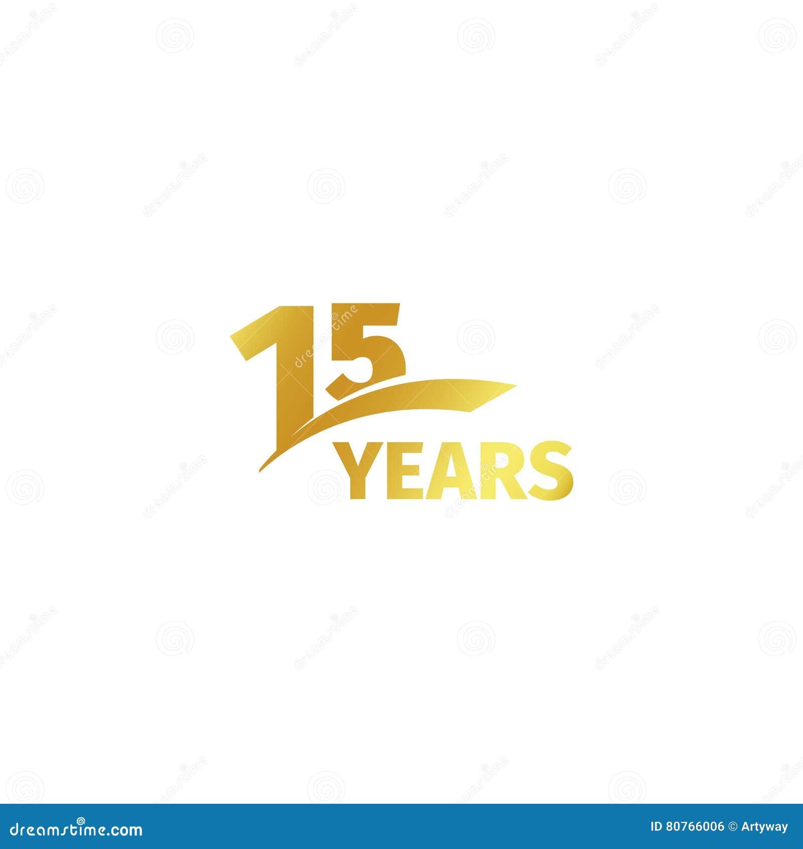 Quindicesimo logo dorato astratto isolato di anniversario su fondo bianco un logotype di 15 numeri Quindici anni di giubileo