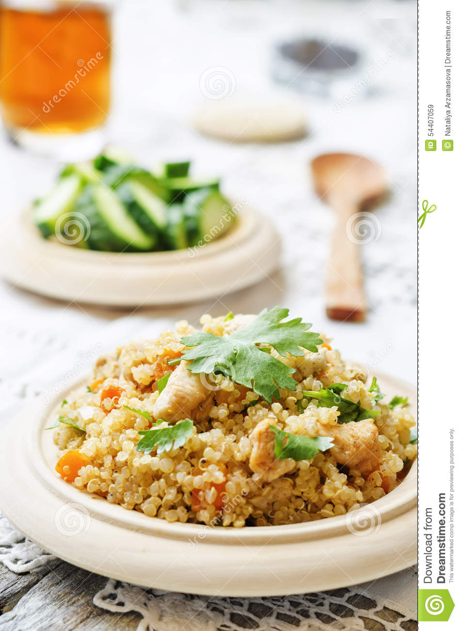 Quinoa Pilaf With Chicken And Vegetables Stock Photo ...