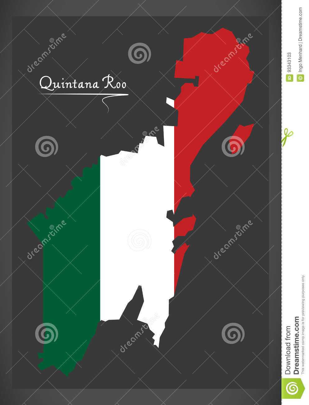 Quintana Roo Map With Mexican National Flag Illustration Stock
