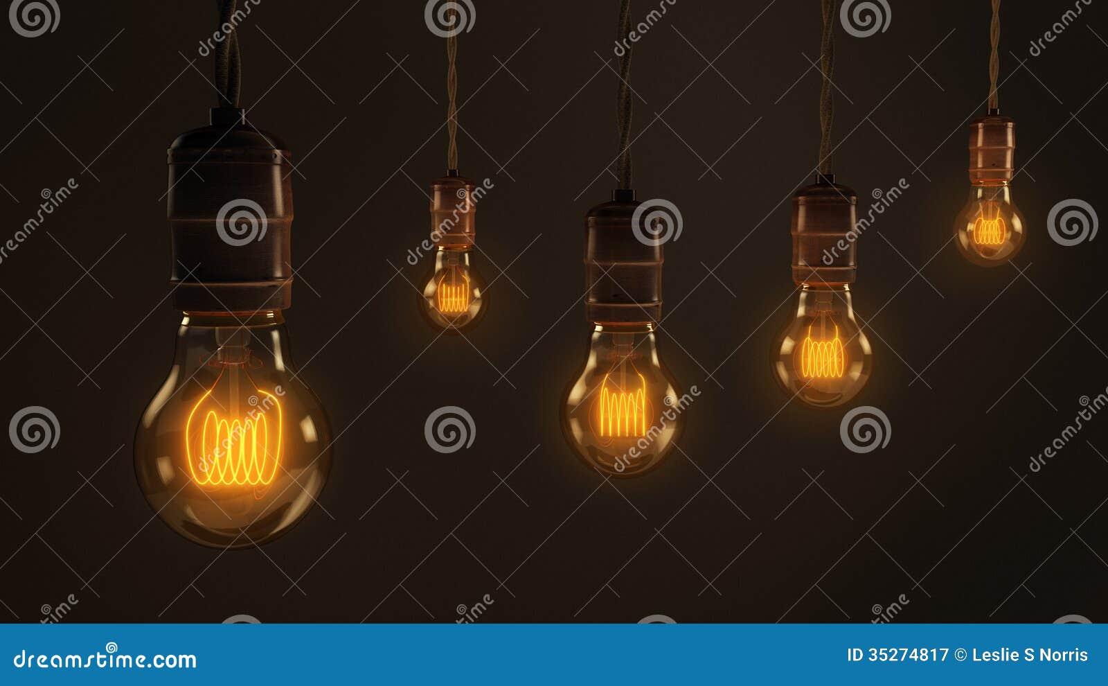royaltyfree stock photo - Vintage Light Bulbs
