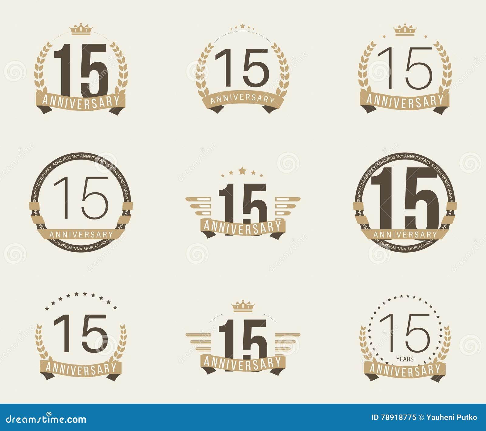 Quinze do aniversário anos de logotype da celebração 15a coleção do logotipo do aniversário