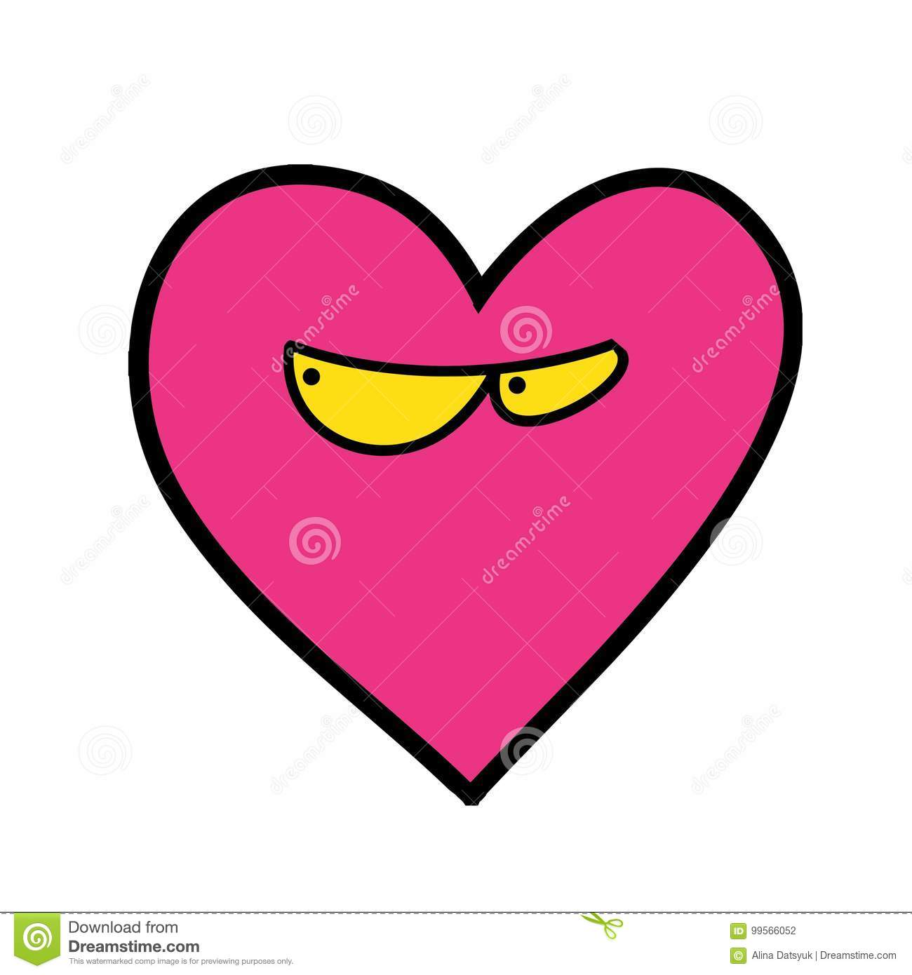 Quirky Cartoon Patch. Heart With Eyes. Stock Vector - Illustration ...