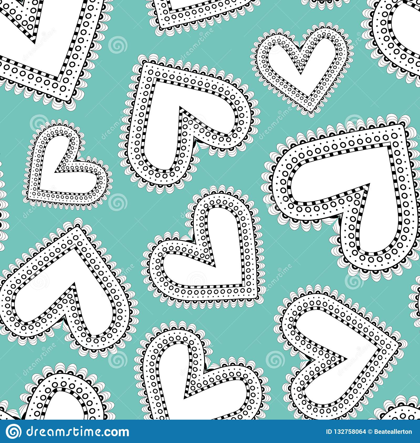 Quirky White And Black Line Art Doodle Hearts As Seamless