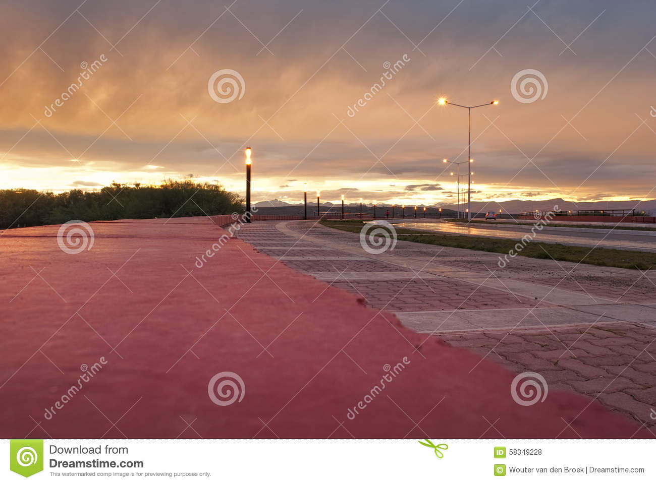 Quite boulevard with amazing colorful patagonian sunset.