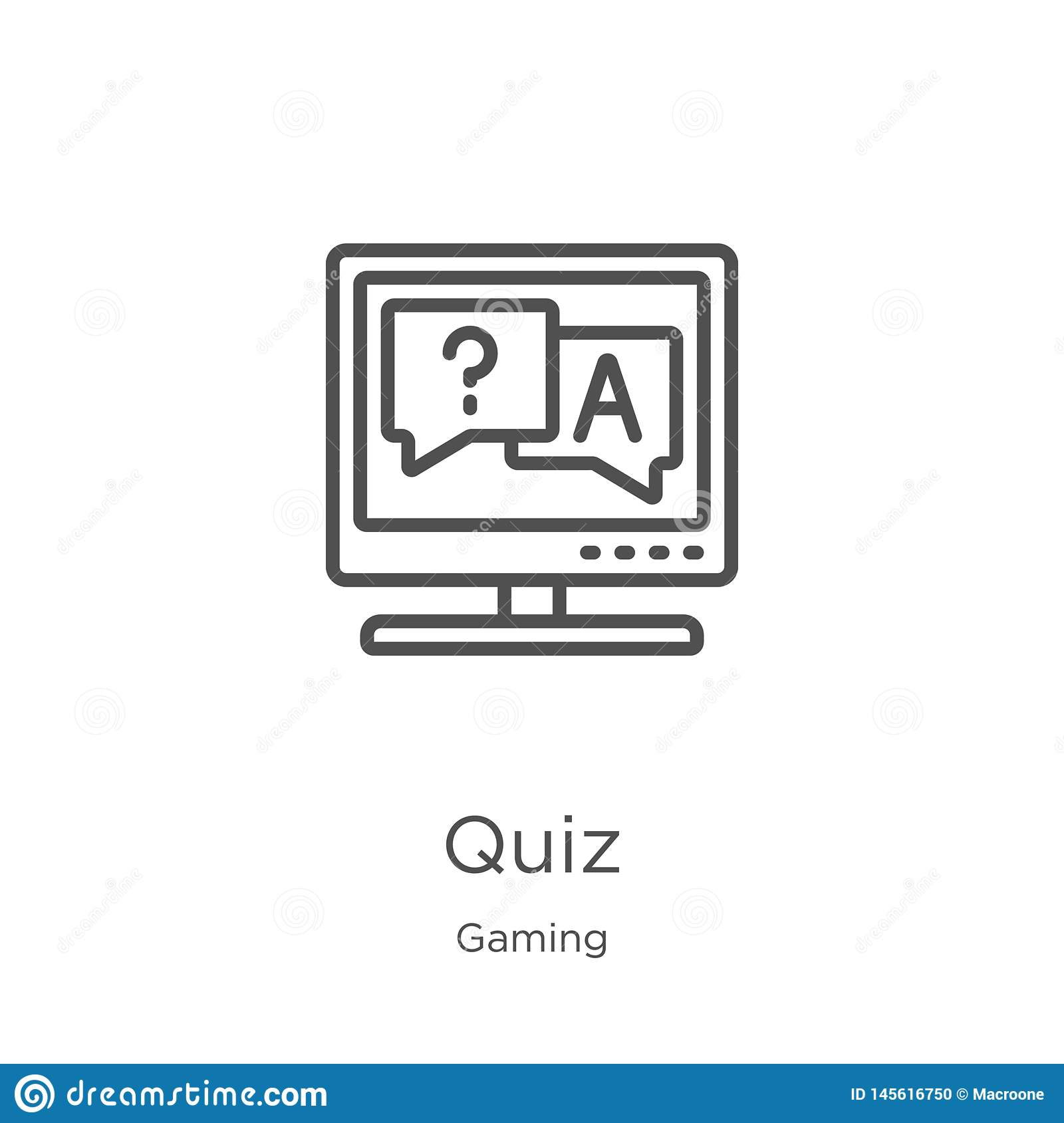 quiz icon vector from gaming collection. Thin line quiz outline icon vector illustration. Outline, thin line quiz icon for website