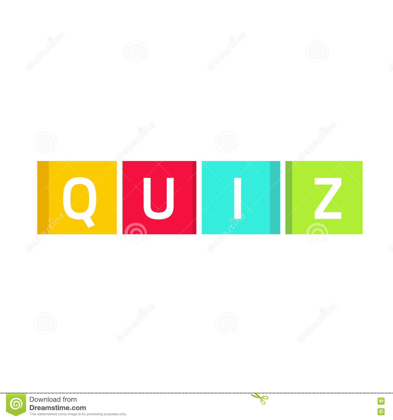 Quiz Logo Vector Questionnaire Show Icon Concept Game Cubes Isolated Stock Vector Image