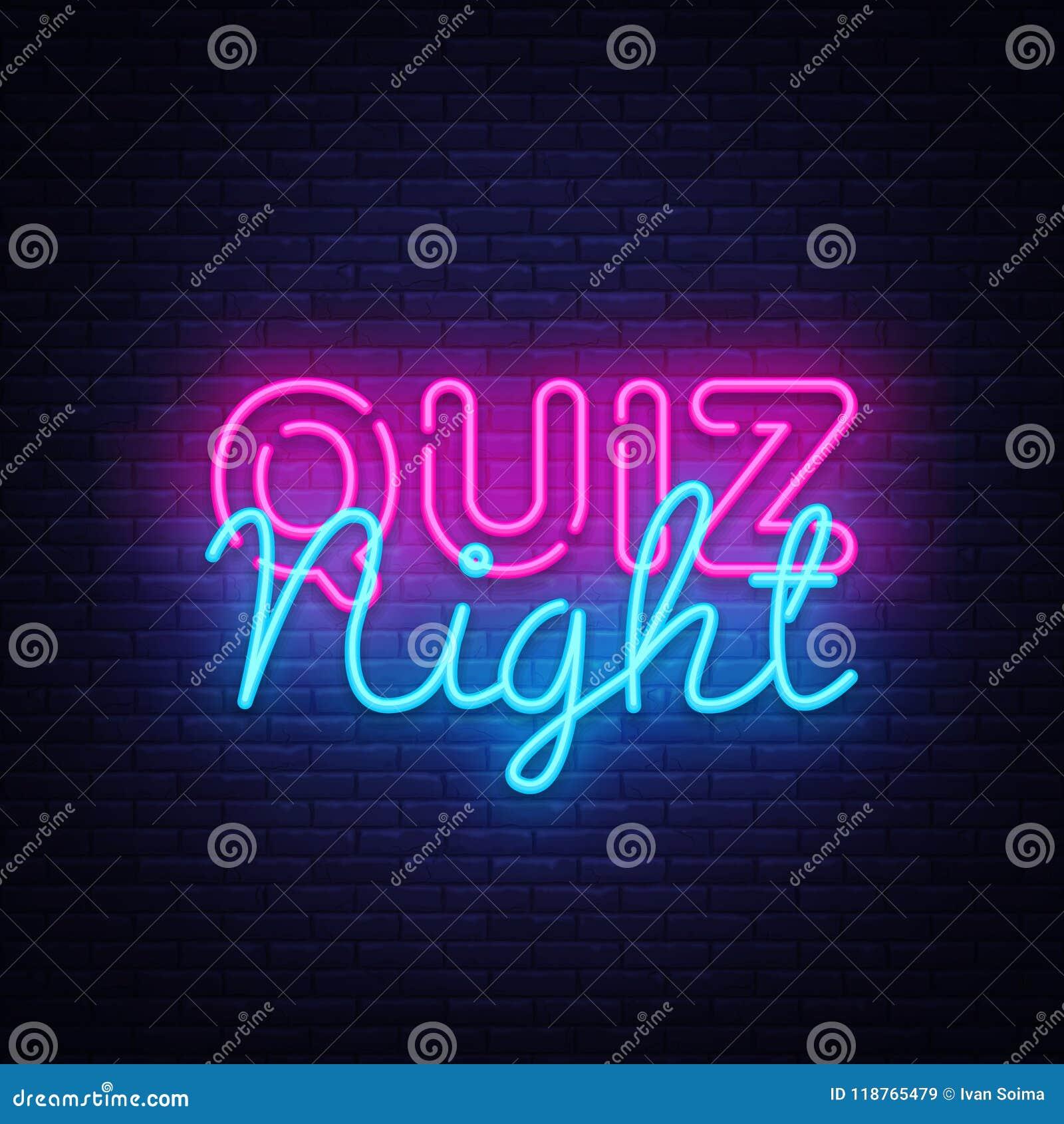 Quiz night announcement poster vector design template. Quiz night neon signboard, light banner. Pub quiz held in pub or