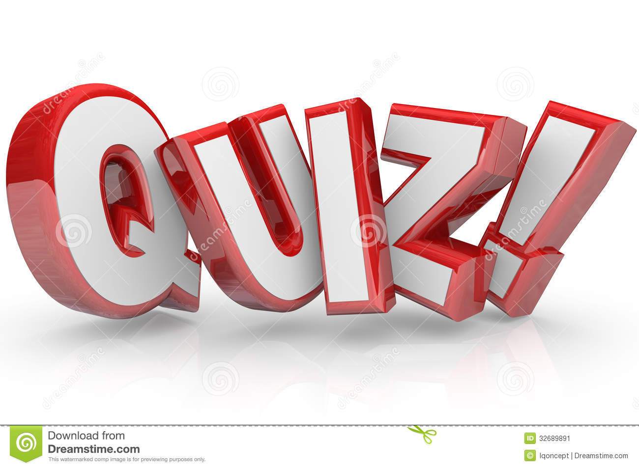 Quiz Red 3D Word Test Exam Assessment Stock Image - Image: 32689891