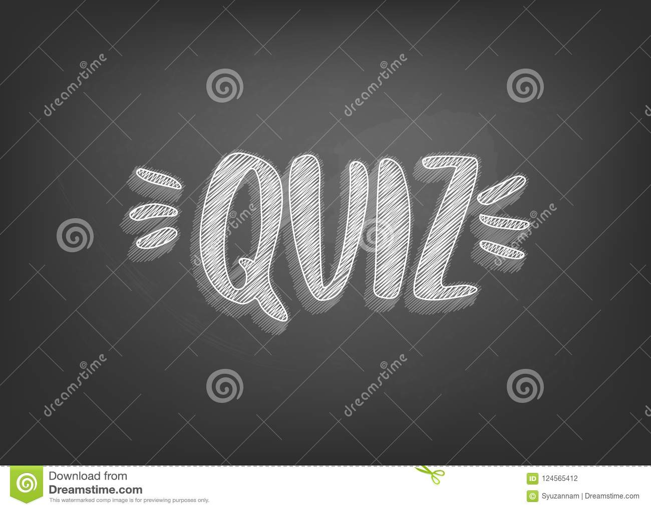 Quiz Retro Card With Handwritten Chalk Lettering Template For Social Media Vector Illustration
