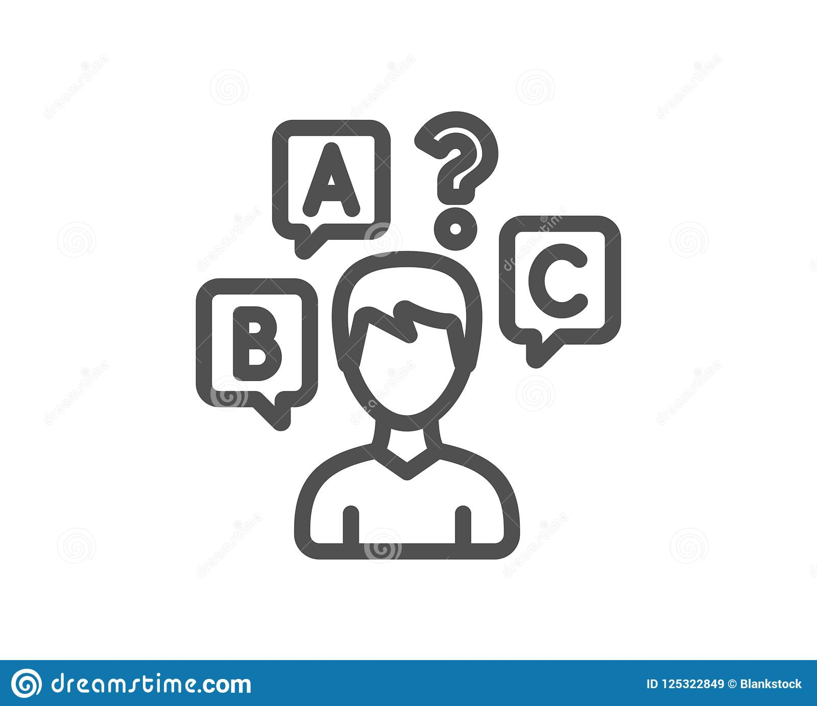 Quiz Test Line Icon Select Answer Sign Stock Vector Illustration