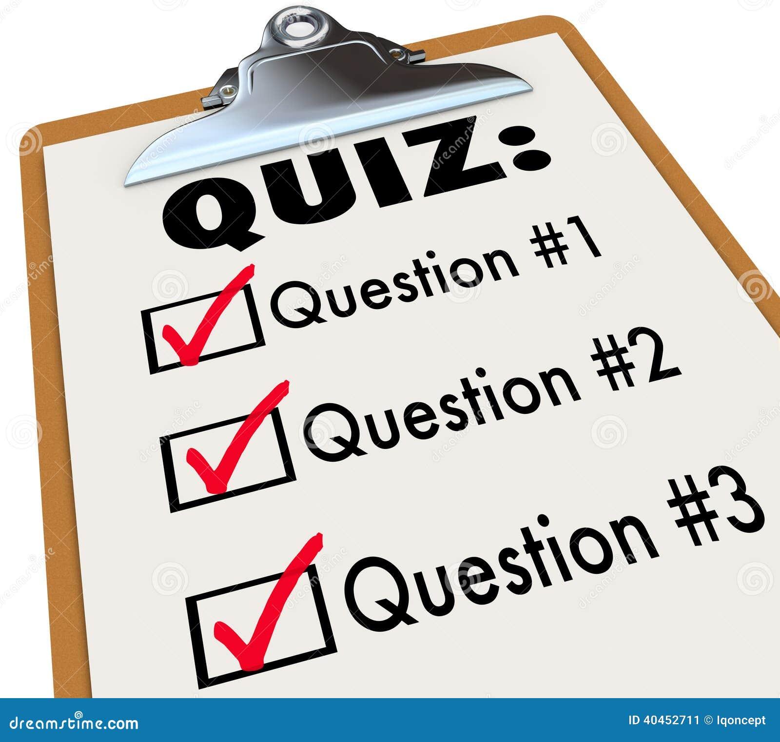 Quiz Wort Klemmbrett Drei Stellt Antwort Test Bewertung In Frage