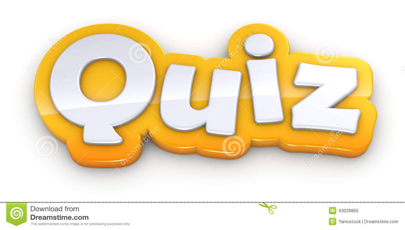 Quiz Yellow Word Text On White Background Stock