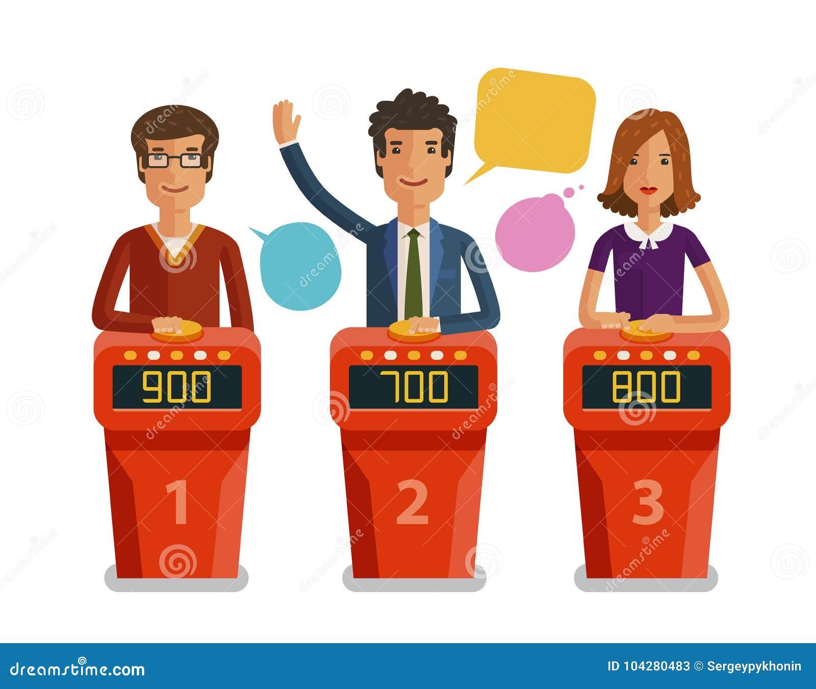 Quizu przedstawienie, gemowy pojęcie Gracze odpowiada pytania stoi przy stojakiem z guzikami Wektorowa płaska ilustracja