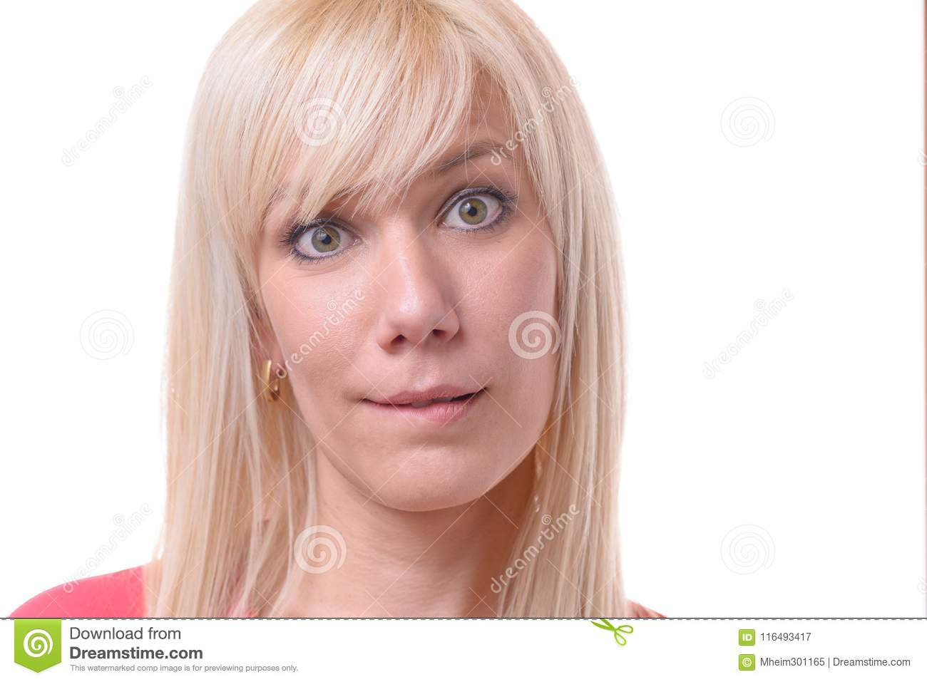 Quizzical Blond Woman Biting Her Lip Stock Image Image Of Biting