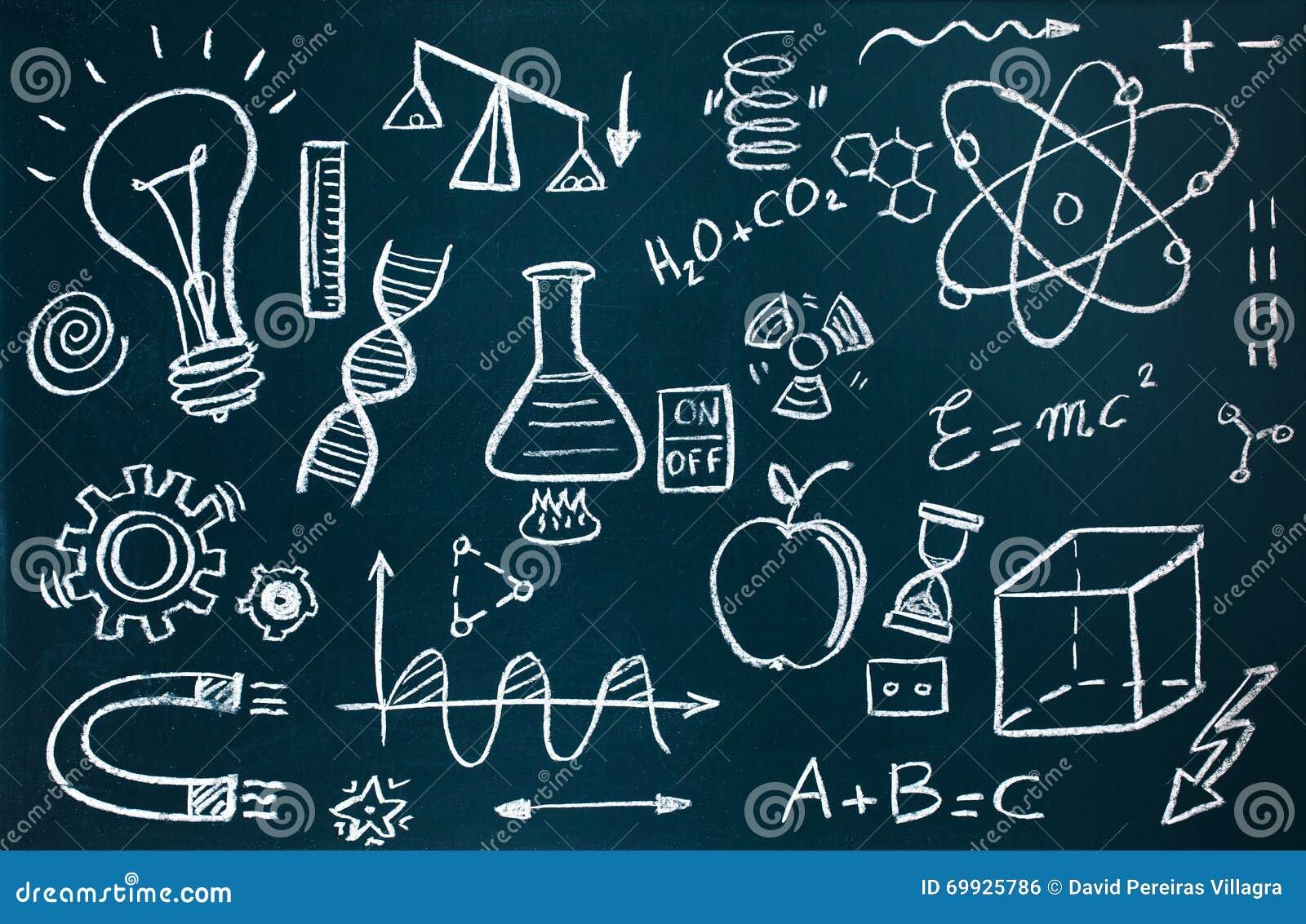 Químico Y Dibujos Matemáticos En Fondo De La Pizarra