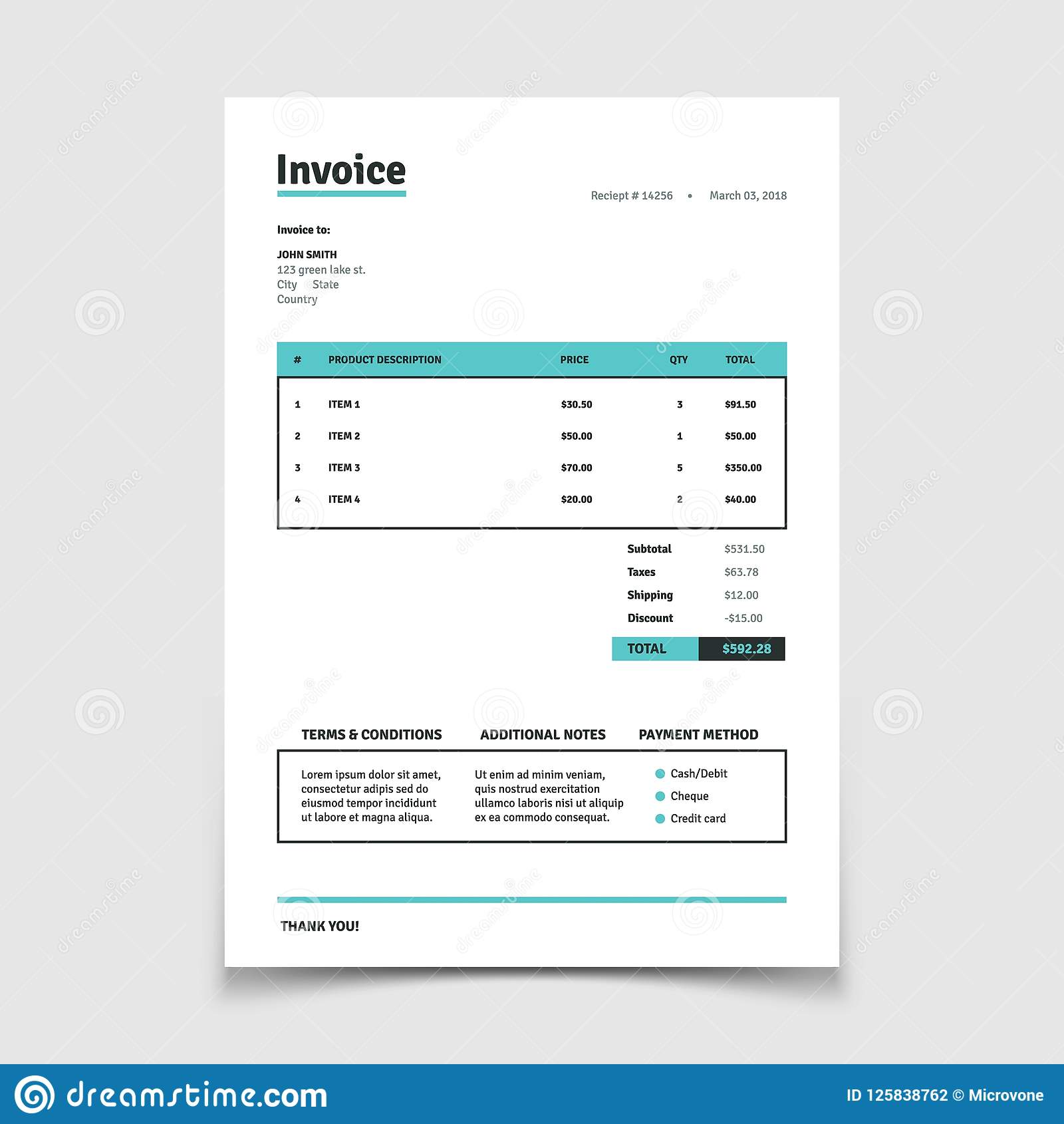 Quotation Invoice Template Paper Bill Form Vector Design Stock Vector Illustration Of Bill Budget 125838762
