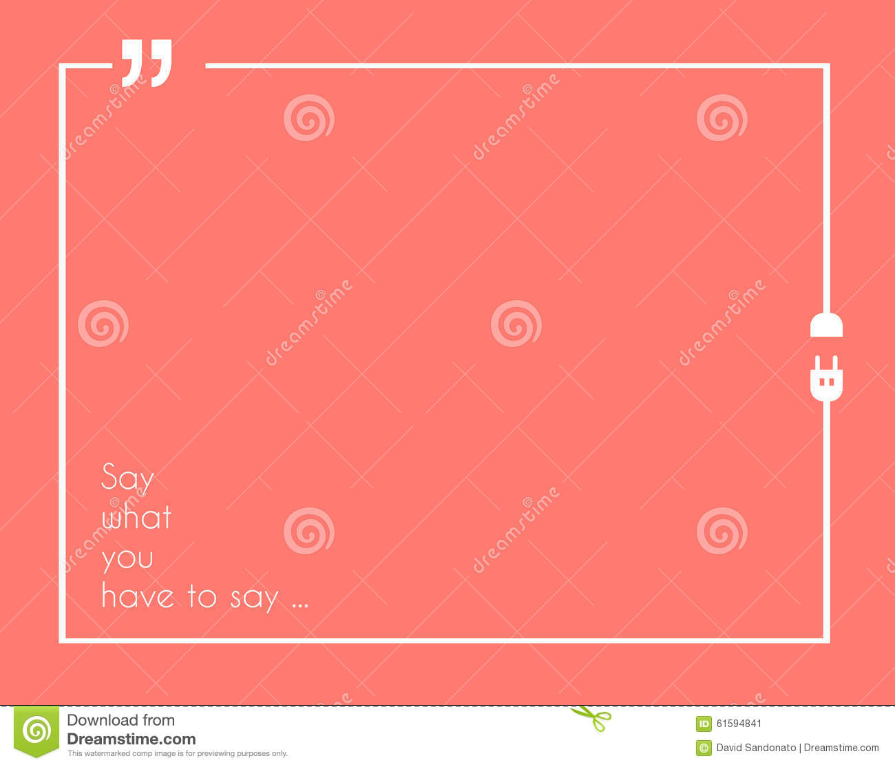 Quotation Mark Frame With Flat Style And Space For Text