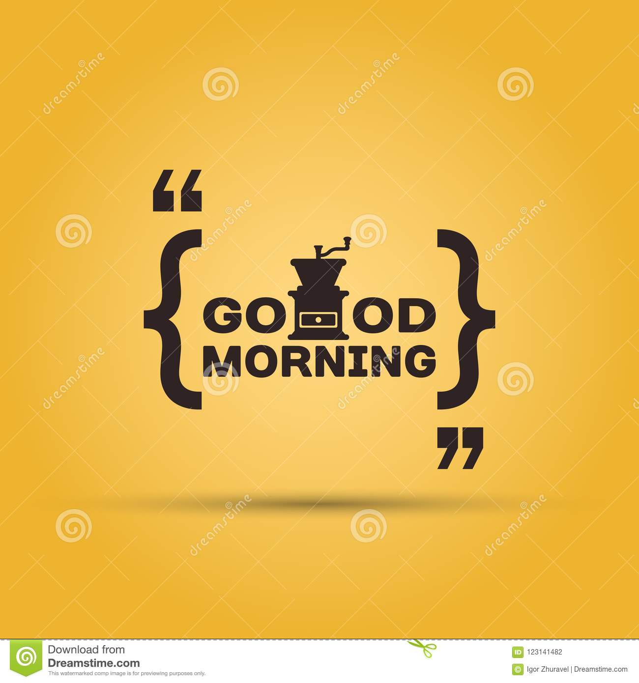 Good Morning With Coffee Quotation Mark Stock Vector Illustration