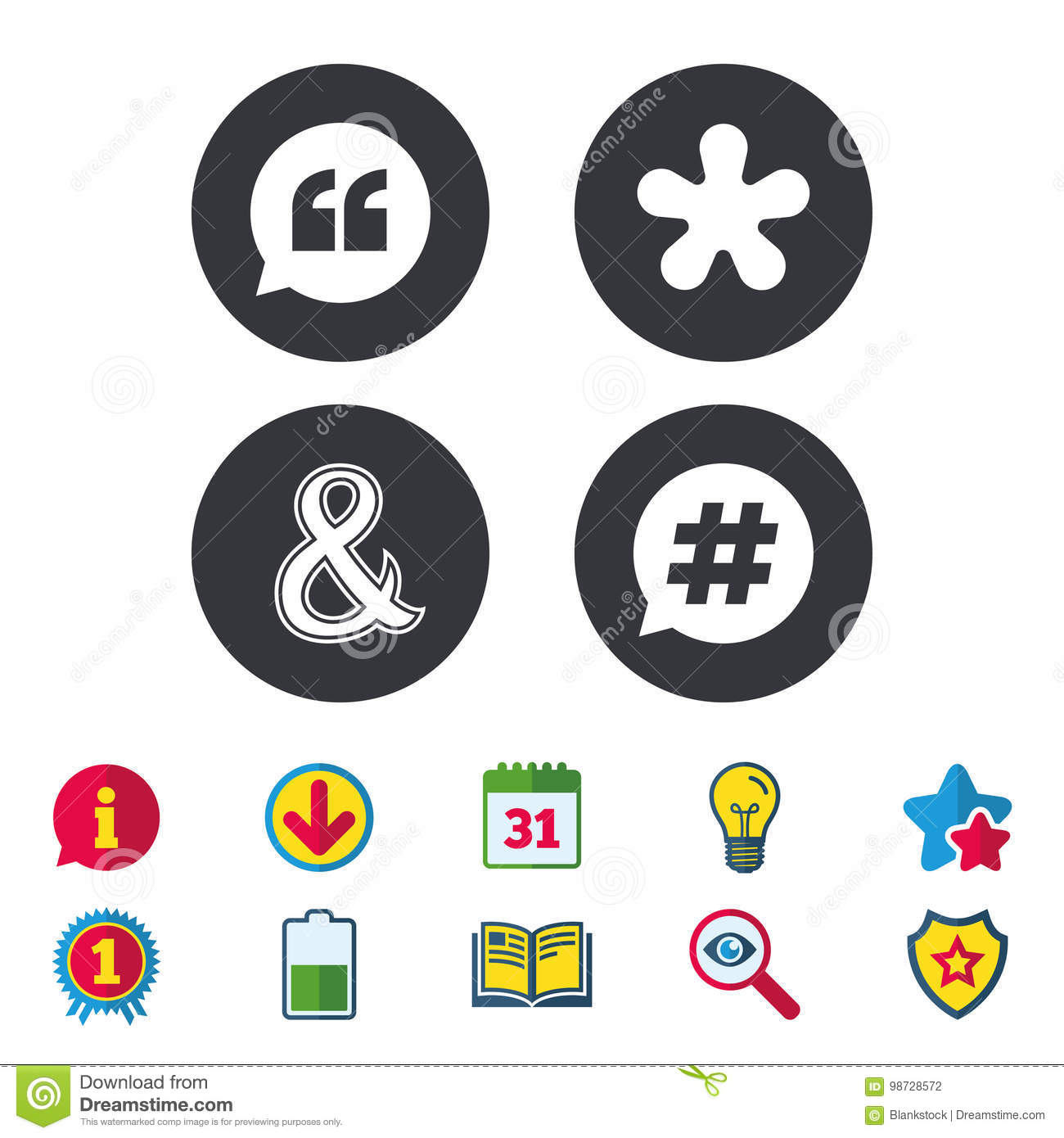 Quote Asterisk Footnote Icons Hashtag Symbol Stock Vector