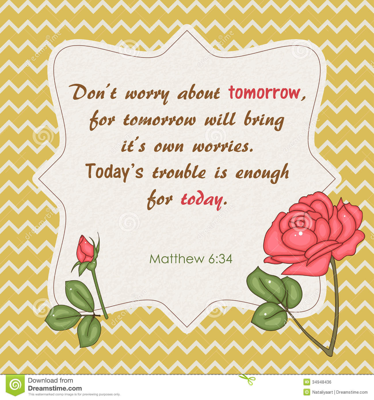 Don T Worry About Tomorrow Bible Quote: Quote From Bible Stock Vector. Illustration Of Graphic