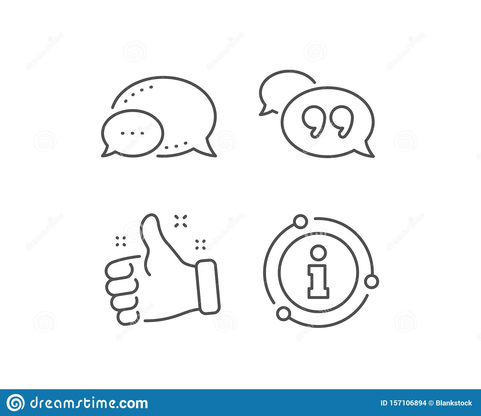 Quote bubble line icon. Chat comment sign. Speech bubble. Vector